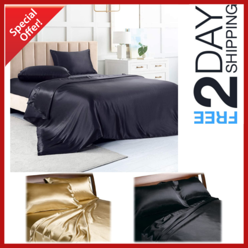 New Satin Sheets Queen Size Soft Silk Feel Bedding 4Pc Set L