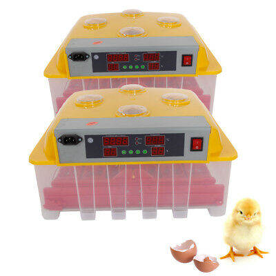 2PCS 60Eggs Automatic Incubator Hatching Poultry with Alarm Function Peep Door