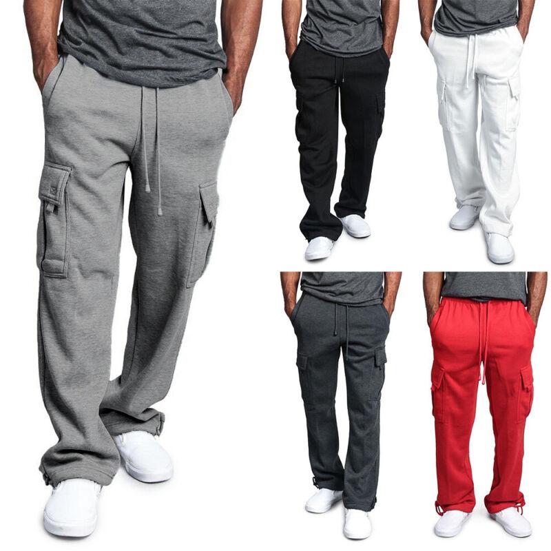 ❤️ Men Jogger Heavy Weight Fleece Cargo Pocket Sweat Pants Casual Loose Trousers