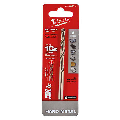 Milwaukee Cobalt Drill Bit - Milwaukee 48-89-2514 6 mm RED HELIX Cobalt Drill Bit - Metric