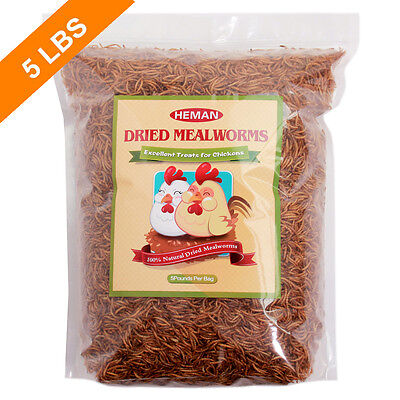 5 LBS Heman Mealworms Natural Dried Mealworm for Chicken, Duck, Other poultry