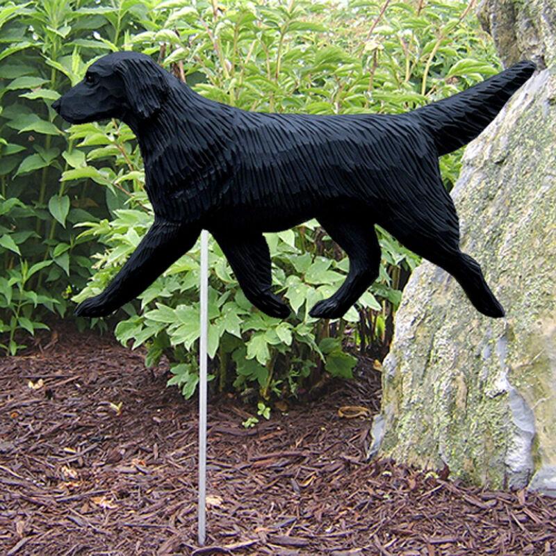 Flat Coated Retriever Outdoor Garden Sign Hand Painted Figure Black