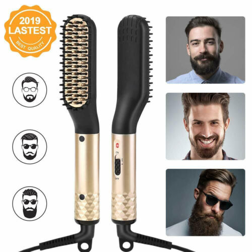 Electric Ionic Beard Straightening Comb Beard Straightener for Mens Heated Brush Hair Care & Styling
