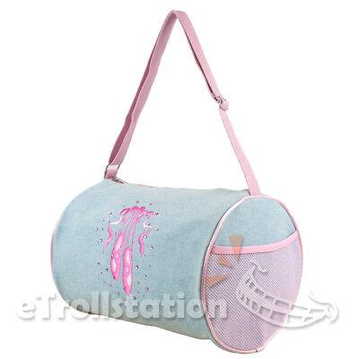 Gymnastics Girls Denim Pink Ballet Shoe Embroidered Duffle Bag w/ Rhinestone (Gymnastic Bag)