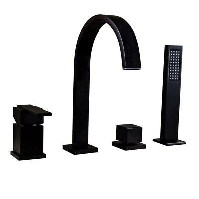 Deck Mounted Black Waterfall Spout Bathtub Filler Roman Tub Faucet&Hand Shower Deck Mounted Tub Spout