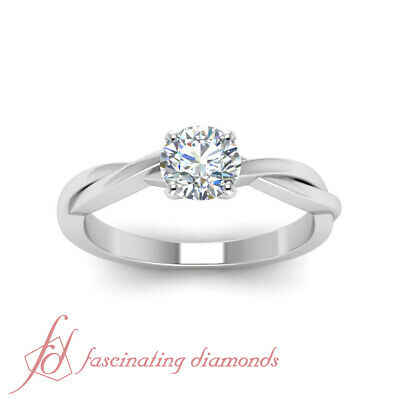 Half Carat Round Cut Diamond Delicate Braided SI1 Engagement Ring For Women GIA 1