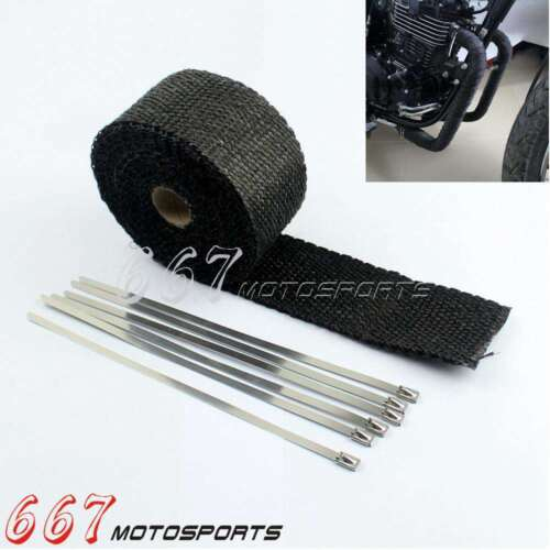 "50FT 2/"" TitaniumExhaust Header Turbo Manifold Pipe Heat Shield Wrap Tape Ties"
