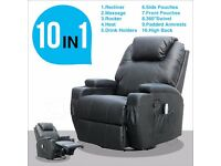 Black Leather Electric Massage Rocking Swivel Gaming Recliner Chair Heating