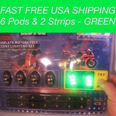 8 St.Grün Led unter Leuchtend Motorrad Lampe Neon Elektro Streifen n Pod Set ()