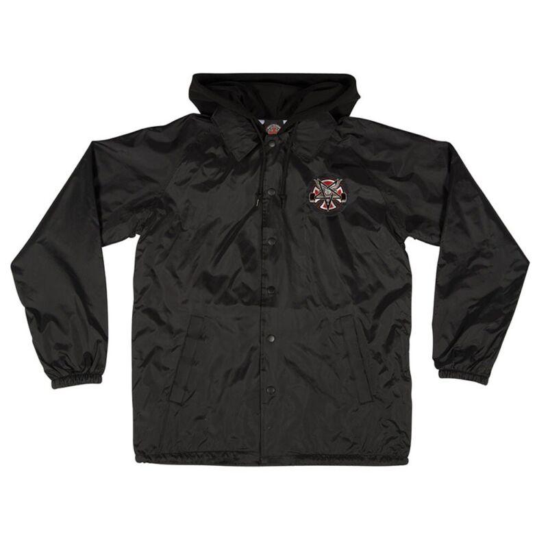 Independent x Thrasher PENTAGRAM CROSS Hooded Windbreaker Jacket BLACK XL
