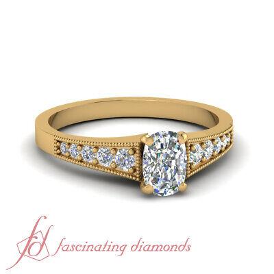 GIA Certified 3/4 Carat Cushion Cut Diamond Milgrain Engagement Ring Yellow Gold
