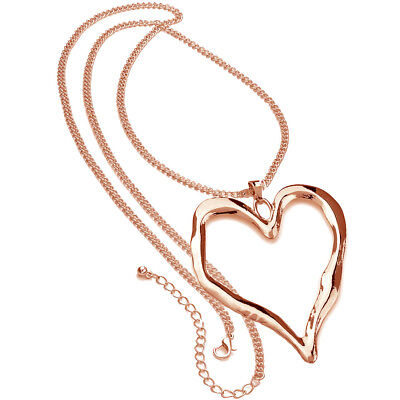 (Rose gold long chain large heart pendant quality fashion jewellery necklace)