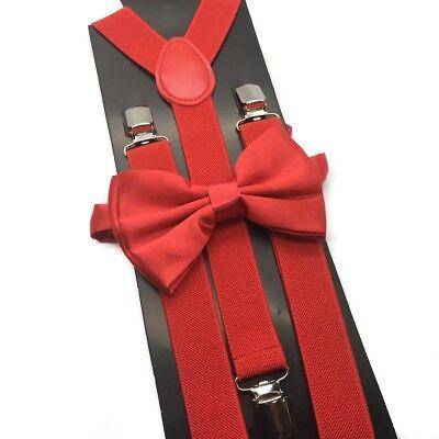 Red Clip on Bow-Tie & Suspender Set Tuxedo Wedding Formal Prom (USA Seller)