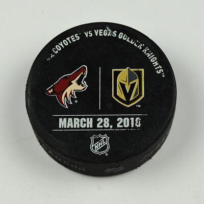 Vegas Golden Knights Warm Up Puck Used 3/28/18 VGK Vs Arizona Coyotes Game