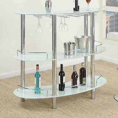 Contemporary Bar Table Stand Frosted White Glass Shelf Wine Glasses Rack Metal