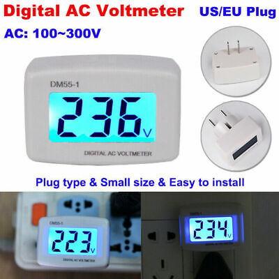 Ac 110v-300v 120v 230v Lcd Digital Voltmeter Plug-in Home Voltage Meter Monitor