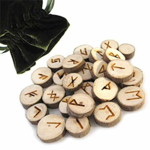 NEW Wood Rune Tile Set Norse Runes 25 pc Elder Futhark Poplar Tiles w/ Bag