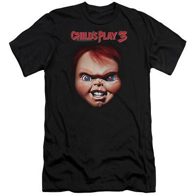 Childs Play Slim Fit T-Shirt Chucky Close Up Black Tee