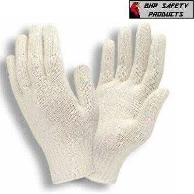 12 Pair 1 Dozen White String Knit Poly Cotton Work Gloves Pairs New