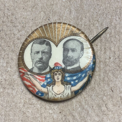 "MISS LIBERTY AND ROOSEVELT FAIRBANKS JUGATE IN THE 7/8"" SIZE PINBACK BUTTON"