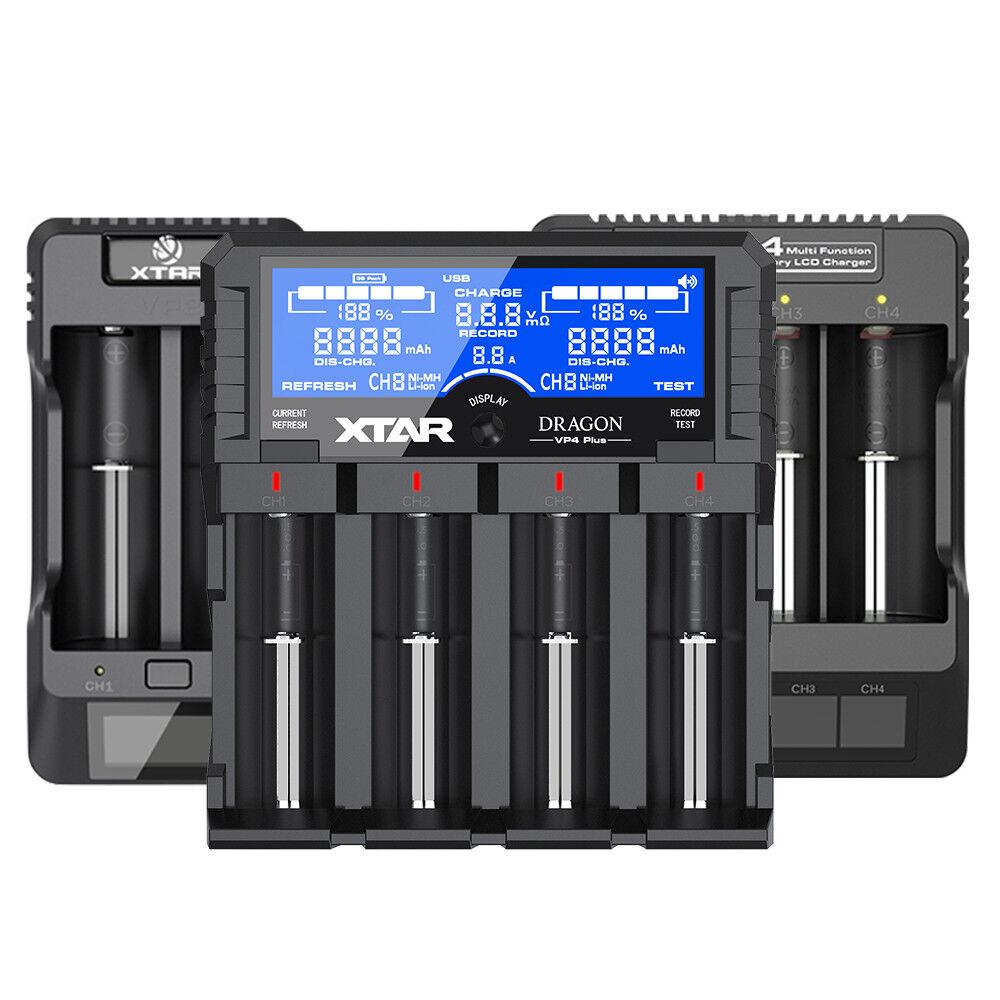 XTAR VP2 VP4 Dragon VP4 Plus 18650 Li-ion LiFePO4 Battery chargers  LCD screen