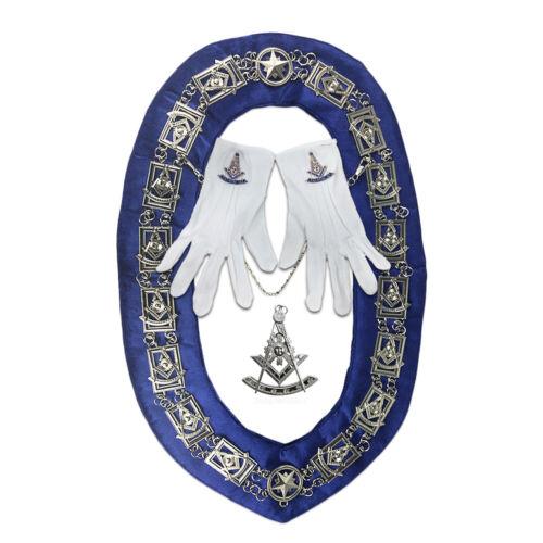 Masonic Blue Lodge Past Master Collar Chain & Jewelry Gloves Regalia Bundle