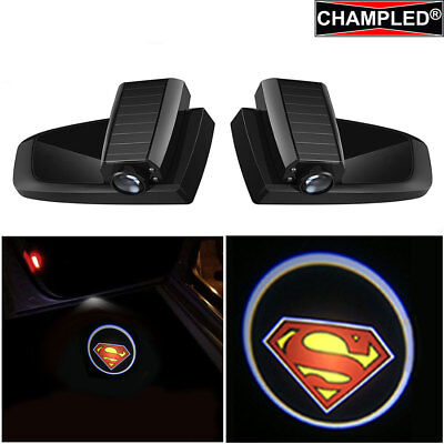 Champled Superman Car Led Door Projector Logo Shadow Lights Emblem Wireless