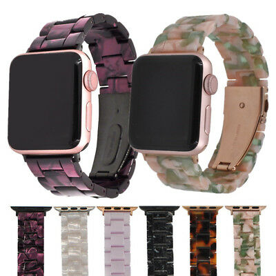 For Apple Watch Band 42mm / 38mm Men Women Resin Strap Rose Gold & Black Buckle