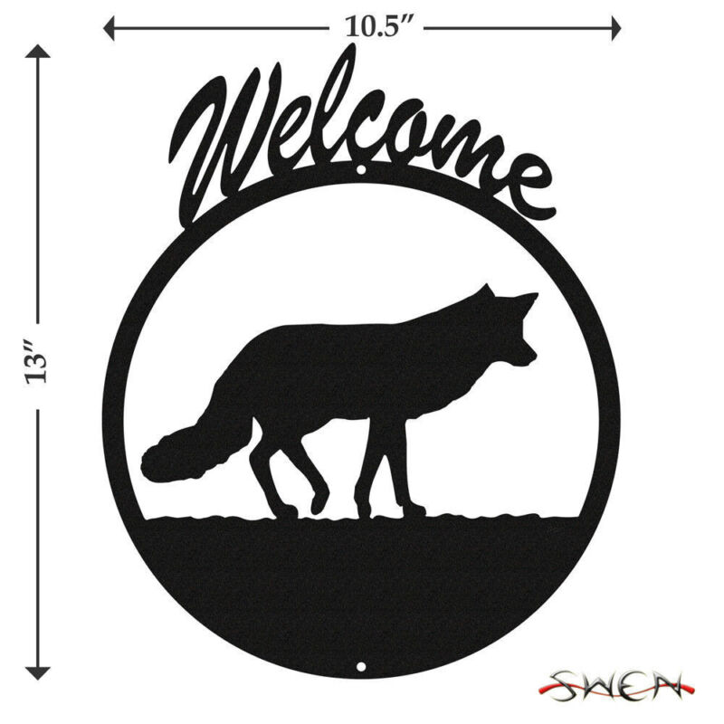 SWEN Products FOX Black Metal Welcome Sign