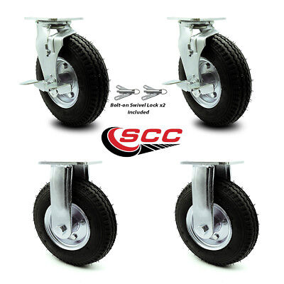 Scc 8 Air Wheel Caster-2 Swivel Wbrakes Bolt On Swivel Lock2 Rigid-set 4