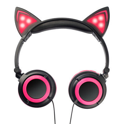 Kids Girls Cat Ear Headphone Flashing Light Headset Audio Earphone Foldable Us