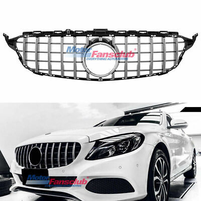 For Mercedes Benz C Class W205 2015-2018 AMG GT R Style Black Chrome Front Grill