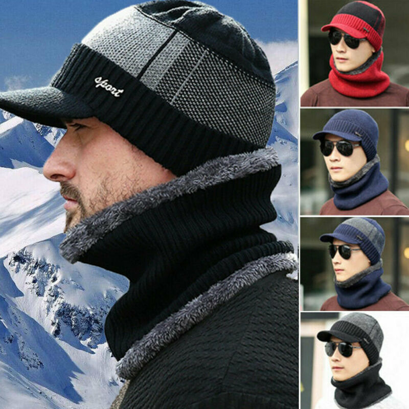 US STOCK Men Winter Warm Hat Knit Visor Beanie Fleece Lined Beanie with Brim Cap