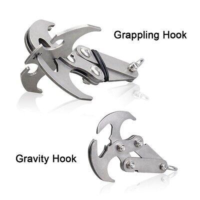 Cyfie Gravity Hook Stainless Steel Survival Folding Grappling Hook  Carabiners