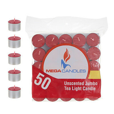 Mega Candles - Unscented Jumbo Tea Light Candles - Red, Set of 50 CGA105-R](Red Tea Candles)