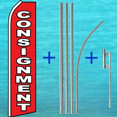 Consignment Flutter Flag Pole Mount Kit Tall Wind Feather Swooper Banner Sign