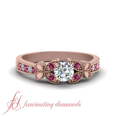 1/2 Carat Round Cut Diamond And Pink Sapphire Rose Gold Milgrain Engagement Ring