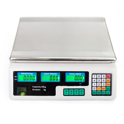 Digital Scale Electronic Price Computing Rechargeable 88 Lb Food Produce White