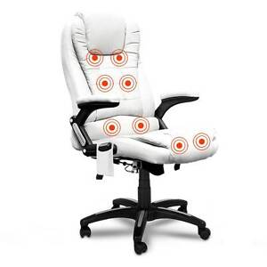 8 Point Massage Executive PU Leather Office Computer Chair White Melbourne CBD Melbourne City Preview