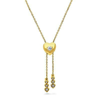 BERRICLE Gold Flashed Cubic Zirconia Heart Anniversary Wedding Lariat Necklace](Flashing Heart Necklace)
