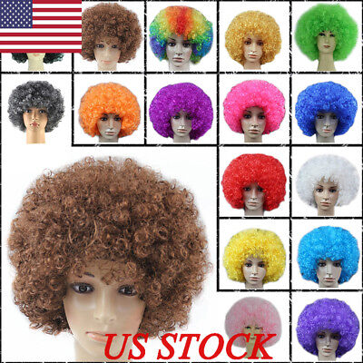 Costume Wigs For Men (US Fashion Women Men Hair Short Curly Afro Clown Party Cosplay Full Wigs)