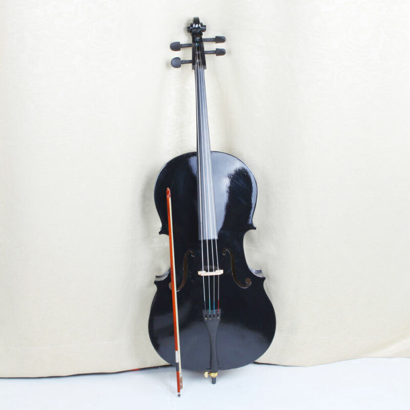 High Quality 4/4 Size Basswood Black Cello with Bag+ Bow+ Rosin + Bridge US