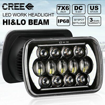 "Pair 7x6"" 5x7"" LED Headlights Hi/Lo/DRL For Dodge W250 D350 Ram Dodge Ramcharger"
