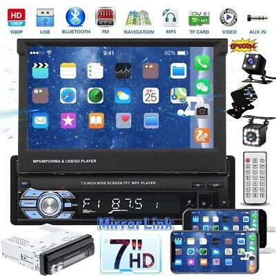 "1 Din 7"" Flip Stereo Car Radio Player Retractable Screen BT USB TF AUX + Camera"