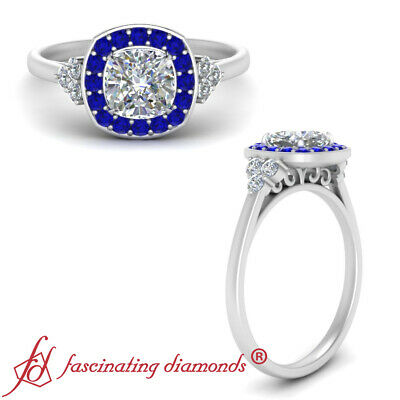 Filigree Halo Engagement Ring With 1.25 Carat Cushion Cut Diamond And Sapphire
