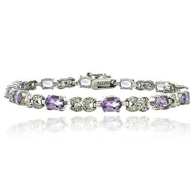 5.6ct Amethyst & Diamond Accent X & Oval Bracelet in Brass