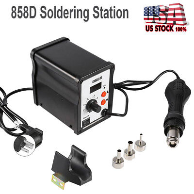Digital Soldering Desoldering Rework Station Hot Air Heat Gun 858d 3 Nozzle