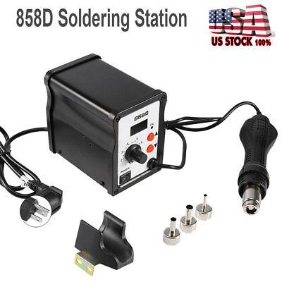 Digital Soldering Desoldering Rework Station Hot Air Heat Gun 858d 3 Nozzle