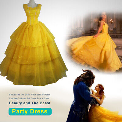 Beauty and The Beast Adult Belle Princess Cosplay Costume Ball Gown Fancy Dress](Belle Adult Dress)