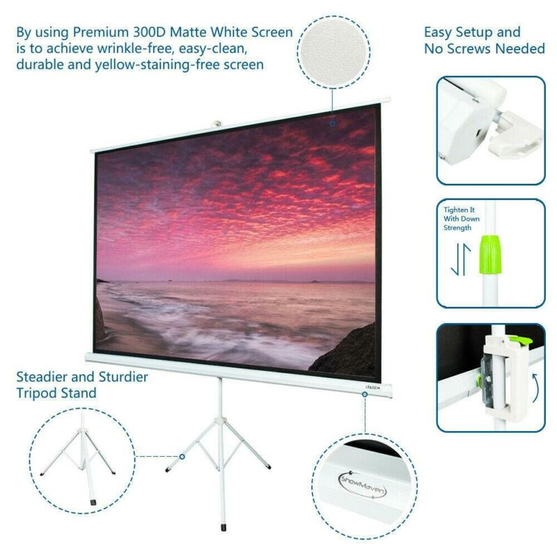 """HD 100"""" 4:3 Projection Projector Screen Pull Up with Tripod Stand Public Display"""